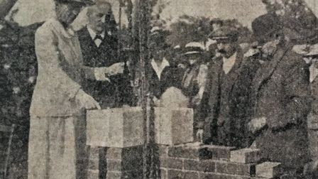 A 1919 newspaper cutting of the stone laying at North Walsham War Memorial Hospital, which was perfo