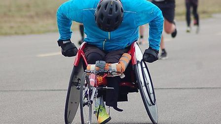 Disabled athlete Martin Pitchers races with Coltishall Jaguars at Scottow Enterprise Park. Pictures: