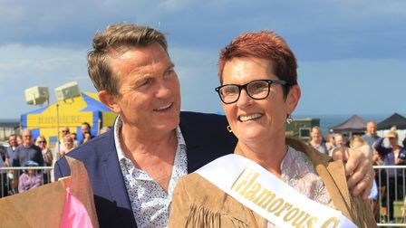 Bradley Walsh with glamorous grandmother winner Trudy Wright, 54, at Cromer Carnival 2019. Picture: