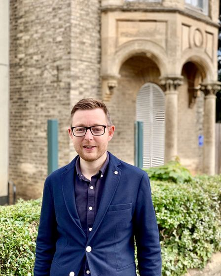 Duncan Baker outside the former North Walsham Town Council offices. Picture: Tom Herman.