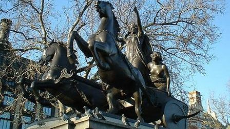 The Boudicca statue at Westminster Bridge in London. Picture: Supplied by Alan Tutt/Cromer Museum