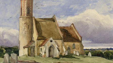 A painting of Brampton St Peter church, which has been the centre of religious life in the village f