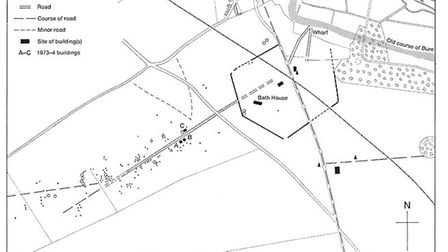 A plan of Roman remains in Brampton, Norfolk. Picture: Supplied by Alan Tutt/Cromer Museum