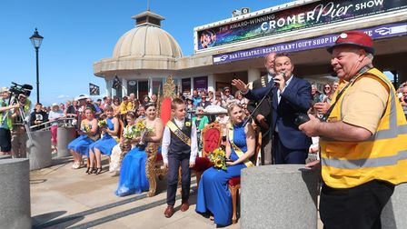 Bradley Walsh at Cromer Pier for the crowing of the Cromer Carnival queen at the 2019 50th anniversa