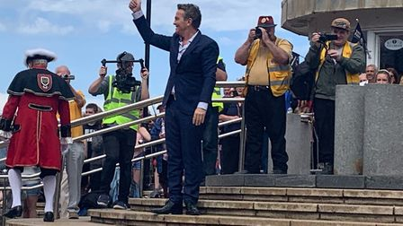 Bradley Walsh arrives at Cromer Pier for the crowing of the Cromer Carnival queen at the 2019 50th a