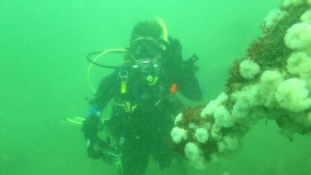 A diver explores the wreck of the SS Rosalie off the north Norfolk Coast. Picture: Supplied by Crist