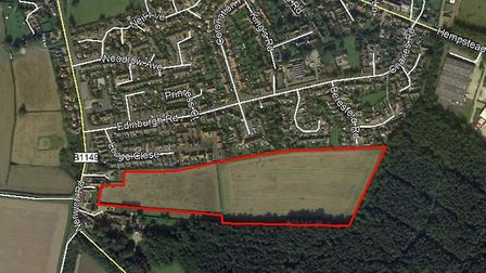 Gladman Developments wants to build about 110 homes off Beresford Road, Holt. Pictures: Gladman Land
