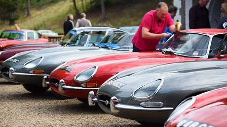 E-type Jaguars at Northrepps for the Round Britain Coastal Drive in aid of Prostate Cancer UK. Pictu