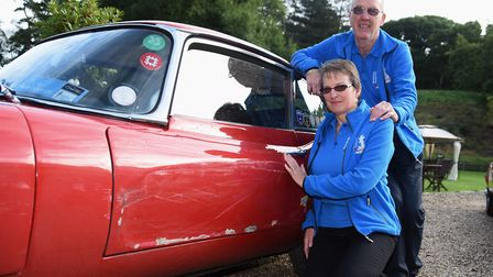 Helen and Ed Didsbury with their E-type Jaguar at Northrepps on a previous Round Britain Coastal Dri