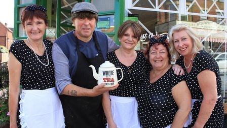 Roy Boys owner Royston Young and staff, who have decked the Sheringham cafe out in wartime style for