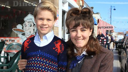 Eight-year-old Samuel Peach and his sister Jemima, 15, from West Dereham. Samuel is wearing a sweate