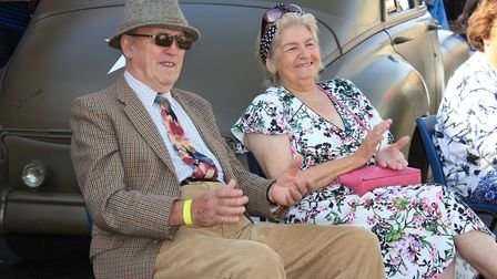 1940s festival-goers watching David Van Day perform in Market Place, Holt.Photo: KAREN BETHELL