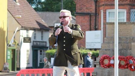 1980s icon David Van Day performing in Holt town centre for the town's 1940s weekend celebrations.Ph