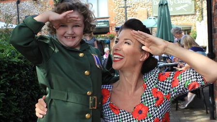 D-Day Darling Amy Worth with step-daughter Marcella, 10. Photo: KAREN BETHELL