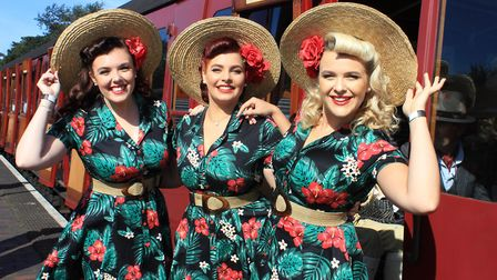 The Knightingales singing group on their way to perform at Holt station. Photo: KAREN BETHELL