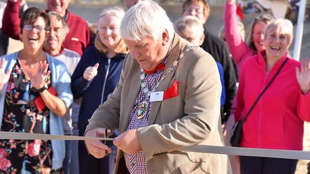 Clive Stockton at the ceremony marking the completion of the sandscaping project at Bacton and Walco