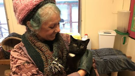 Trustee Sandra Branch-Burbridge of North Norfolk Cats Lifeline with cat Clarence earlier in the year