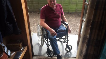 Ian Kew is now in a wheelchair after losing a leg. Pictures: David Bale