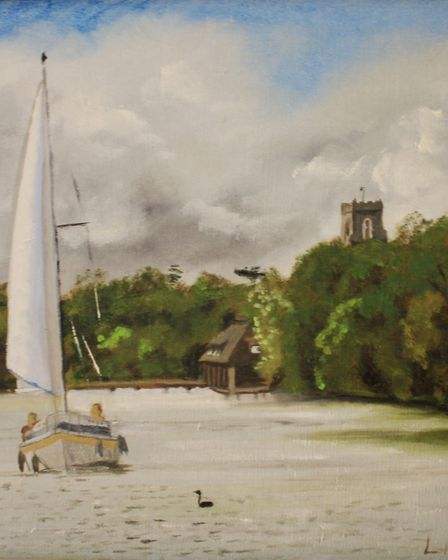 Boat on the Broads, by Lesley Ash, whose work is on show at The Venue, Holt, as part of an exhibitio