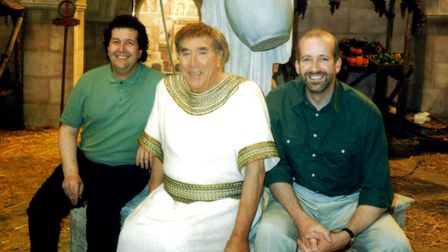 Comedy writing duo Paul Minett and Brian Leveson with Frankie Howerd on the set of Up PompeiiPhoto: