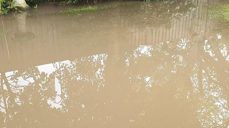 John Austin's Suffield Park back garden, which was flooded at the weekend for the third time in less