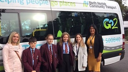 North Norfolk Community Transport chief executive Claire Abbs (left) with North Walsham High School