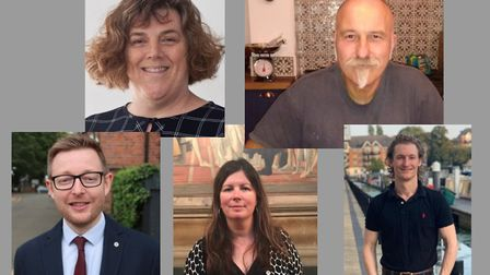 Candidates for the North Norfolk constituency in the 2019 General Election are, clockwise from top l