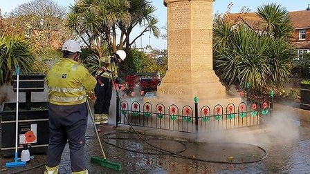 Sheringham war memorial getting a free makeover from Norwich cleaning and surfacing company Variblas