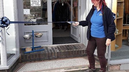 Su Leske, of PACT animal sanctuary, opens the charity's new shop at North Walsham.Photo: submitted