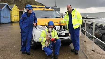 John Harris, Chris Shortis with Pearl and Sheringham Coastguard station officer Jerry Woodley on She