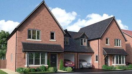 An impression of semi-detached homes that are being built as part of the Aegel Gardens development o