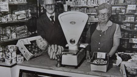 Days gnoe by - a library photo of Brian and Dorothy Fairhead inside the Itteringham village shop. PH