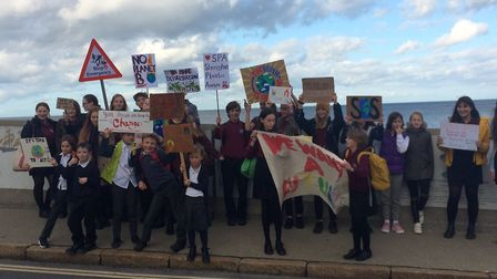 Sheringham High School pupils went on strike to lead a climate change protest. Pictures: David Bale