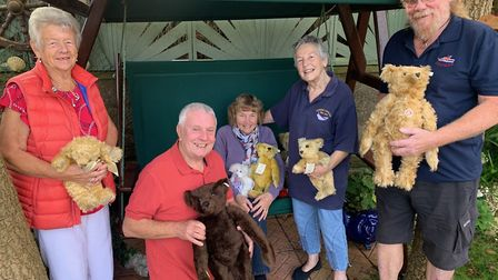 With some of the teddy bears to be autioned off for Cromer Lifeboat Station are, from left, Beryl Ma