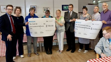Holt 1940s weekend cheque presentation, with Duncan Baker far left. Picture: supplied by Duncan Bake
