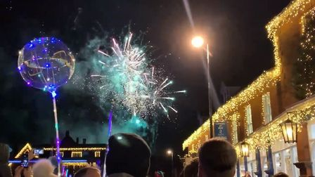 The fireworks display at Holt's Christmas lights switch on. Photograph: ARCHANT.