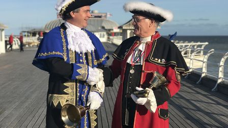 From left to right: Mark Northway, Cromer's new town crier and Jason Bell, former town crier. Pictu