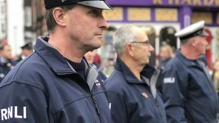 Representatives from the emergency services and RNLI were in attendance at the Remembrance Day comme