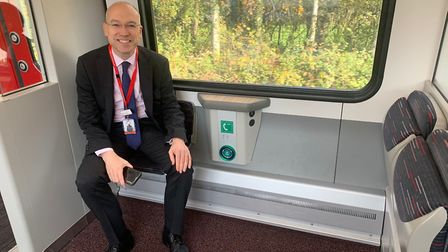 Greater Anglia head of corporate affairs Jonathan Denby in the accessible section of one of the firm