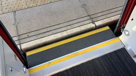 'Mind the gap' signs not needed. The automatic ramp at the door of one of Greater Anglia's new bi-mo