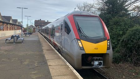 One of Greater Anglia's new bi-mode trains at Cromer railway station, on the Norwich-Sheringham Bitt