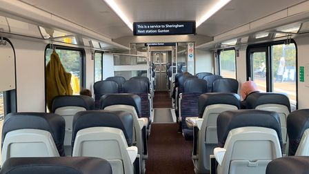 Inside one of Greater Anglia's new bi-mode trains on the Norwich-Sheringham Bittern line. Picture: S
