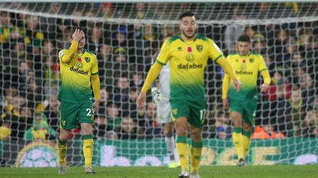 Norwich players look crestfallen after Watford score for a second time at Carrow Road Picture: Paul