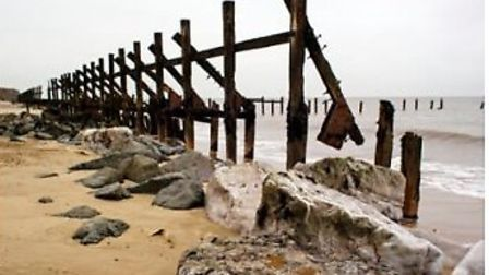 Broken sea defences at Happisburgh. Parliamentary candidates in North Norfolk have promised billions