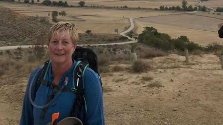 Anita Lusher, on the first leg of her 600 mile trek across Spain.Photo: submitted