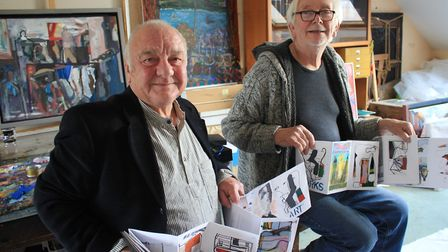 Artist friends Mike Pert (left) and John Midgley, who have created a concertina-style art book featu