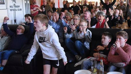 An exciting point as England rugby fans watch England against South Africa in the World Cup final at