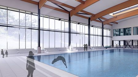 An artist's impression of the interior of the future Sheringham Leisure Centre, which is now under c