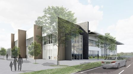 An artist's impression of the exterior of the future Sheringham Leisure Centre, which is now under c