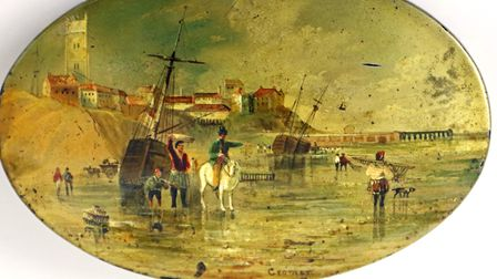 The 19th century view of Cromer on the Victorian sewing kit to be sold at Keys. Picture: Supplied by